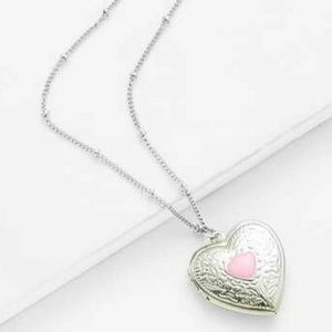 Jewelry - Silver & Pink Heart Locket Charm LC necklace